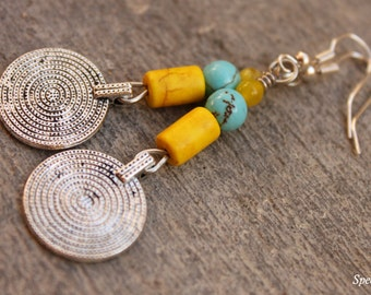 Yellow and Blue Earrings - Rusty Silver Coin Earrings - Yellow and Blue Earrings