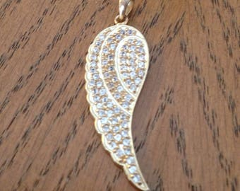 Gold Angels Wing Pendant with Czs in Sterling Silver
