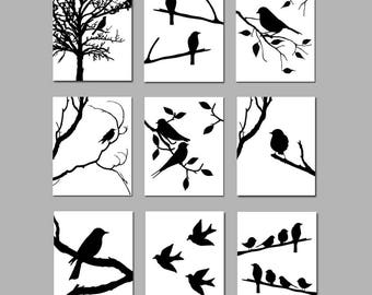 Bird Wall Art Set of 9 Bird Prints Bird Decor Black and White Art Bird Decor Bird Bedroom Art Wall Art Bird Decor - CHOOSE YOUR COLORS