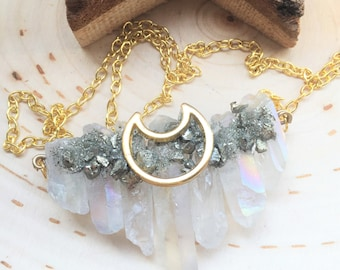Giant Quartz Crystal Necklace with Pyrite, healing crystals and stones, (GOLD)
