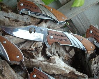 Set of ( 7) Personalized Knives  Pocket Knife/Laser Engraved, Custom knife, wedding knife,  groomsman knife, best man knife 540