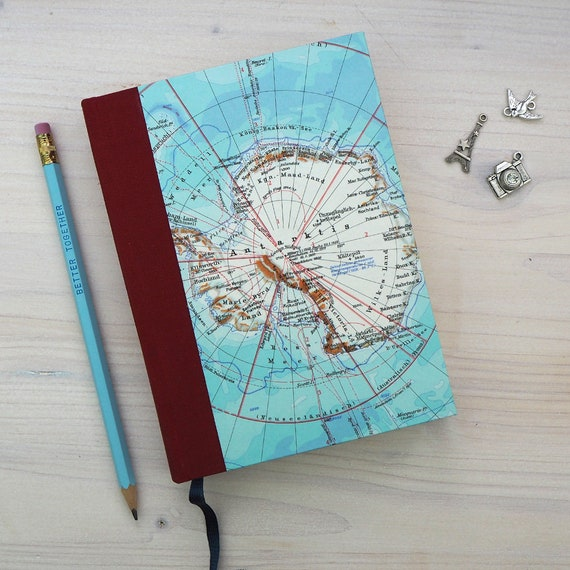 TRAVEL JOURNAL BOOK, 5x6,8 inch, 288 p., blank, handbound, Northpole and Southpole, travel journal, diary, notebook, upcycling