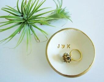 Monogrammed wedding holder gift, engagement gift, White gold rim dish, porcelain ring holder, Ring dish, bridesmaid gift, me and you gift
