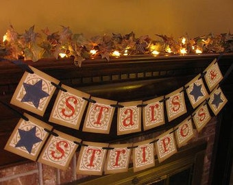 Stars and Stripes Banner/Garland/4th of July/Memorial Day/Independence Day/Red, White and Blue/Party Decoration/Cookout/Fireplace Decoration