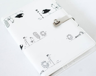 A6 Pure White With Black Birds Notebook
