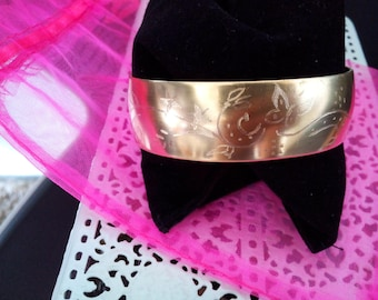 Brass domed 19 mm x 15 cm customizable - engraving Arabesque bracelet
