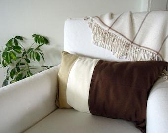 Tri-Colour Pillow, Hemp Pillow Covers, Brown, Green, Beige, Linen Pillow Cover, Cotton Pillow Cover, 16x24