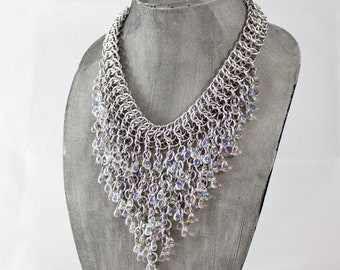 AB Glass Teardrop and Aluminum Chainmail Fringe Statement Necklace