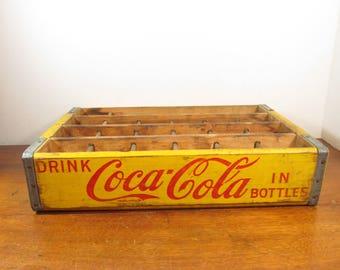 Vintage Yellow Coca Cola Crate, 24 Bottle Coke Spice Rack