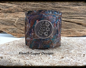 Hand Painted Textured Leather Cuff
