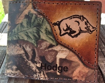 Razorback Hog Bifold Wallet in RealTree Camo Leather...Initials or Name Free!
