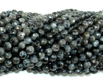 Black Labradorite Beads, Faceted Round, 4mm, 15 Inch, Full strand, Approx 92 beads, Hole 0.5 mm, A quality (137025002)