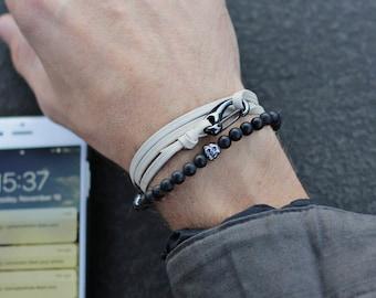 Men's Bracelets - Leather Bracelet for Men - Taupe leather bracelet - leather bracelet for Men - adjustable bracelet for men - Gift for him
