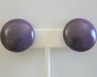 Vintage Round Purple Button Clip On  Earrings