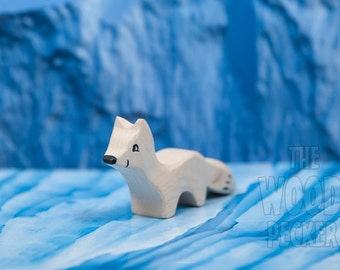 Waldorf Wooden Polar Fox, Bio Toy Animals, Handmade white fox, Boys and Girls, Birthday Present, eco friendly, Wooden fox, Arctic wooden toy