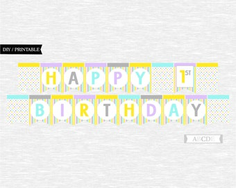 Instant Download Lilac, Yellow, Grey, Pink, Aqua Girl Polka dots Happy 1st Birthday Banner DIY Printable (PDMD002)
