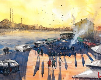 Sunset on Fish Market, Istanbul Watercolor Painting Art Print