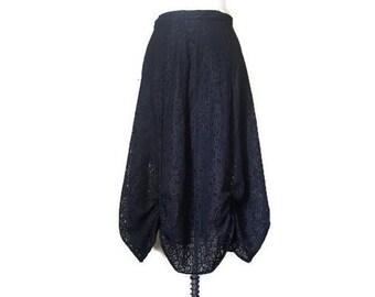 Black Cotton Lace Skirt, crochet lace skirt, gathered skirt, gothic skirt, goth skirt, lolita skirt, alternative skirt M