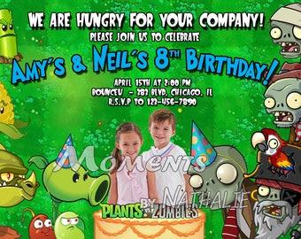 Digital File Plants vs Zombies Custom Photo Birthday Party Invitations
