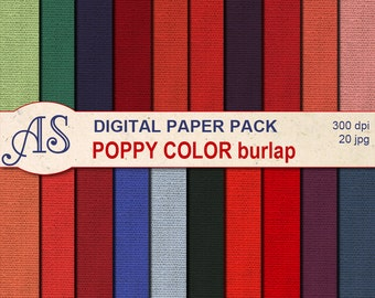 Digital Poppy Color Burlap Paper Pack, 20 printable Digital Scrapbooking papers, red Fabric Digital Collage, Instant Download, set 138
