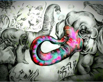Elephants Elated Print