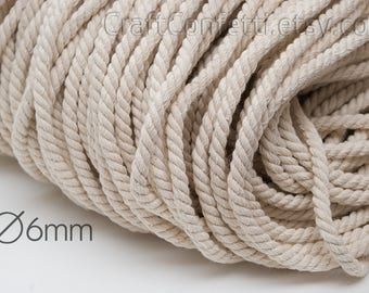 Beige cotton rope 6mm 100% cotton cord Cotton twisted rope Beige rope Decoration rope Craft supplies Sew rope Nautical rope / 5 meters