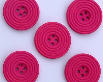 6 x buttons wood Spiral 25 mm: dark pink - 02282