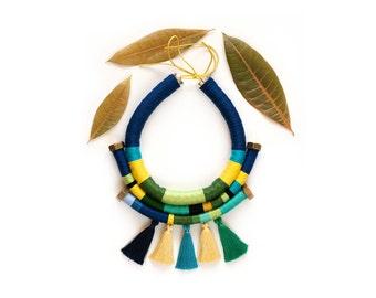 Tribal statement necklace, Tassel statement necklace, Rope necklace, Boho necklace, Bib Necklace, African jewelry, Rope jewelry