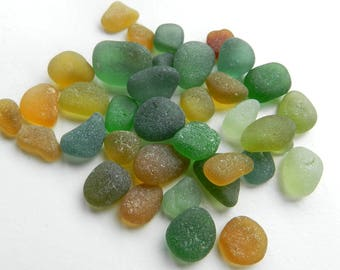 Small Sea Glass Pieces in Autumnal Shades