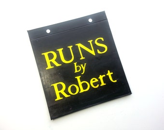 Race Bib Holder - Runs by Personalized with Name - Customize colors  - Hand-bound Book for Running bibs - Black and Yellow
