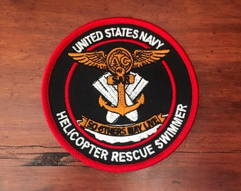 United States Navy Helicopter Rescue Swimmer Patch - Red Version