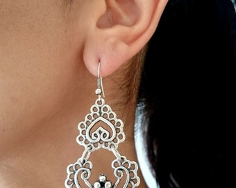 Ottoman earrings//Silver plated earrings//Turkish jewelry/tribal jewelry/gift for you/Valentine's Day