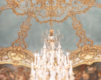 Paris Chandelier Photography - The Princesses Chamber, Golden Chandelier Print, French Home Decor, Large Wall Art