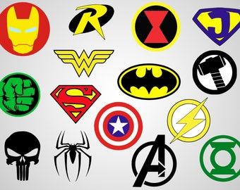 superheroes logos vinyl decal svg file printable cricut file