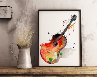 watercolor guitar, guitar, music lovers Framed photo paper poster