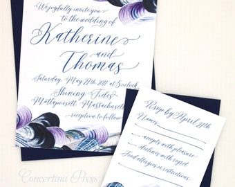 Seashell Wedding Invitations for your New England Beach Wedding