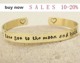 "Custom Bracelet-""I Love You to the Moon and Back "" Hand Stamped Brass Personalized bracelet- Bangle-  Gold Bracelet - bulk order availble"
