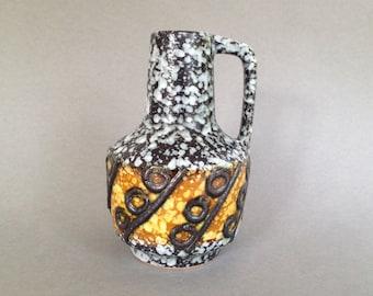 VEB Haldensleben  4073 Mid Century 1970s Fat Lava Vase  East German Pottery.