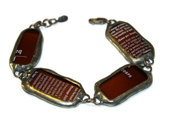Vintage Recycled Glass Bracelet 8.75 inches