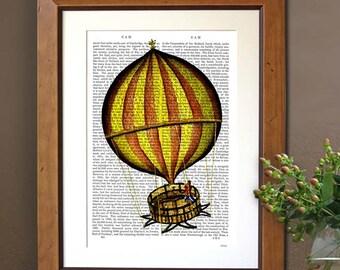 Yellow and Red Hot Air Balloon Print, Upcycled Dictionary Print, Balloon Illustration wall art wall decor wall hanging hot air balloon decor