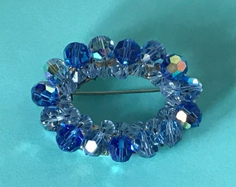 Vintage Faceted Blue Glass Bead wreath pin, blue beaded wreath pin, blue glass bead wreath brooch, two tone blue beaded wreath pin,brooch