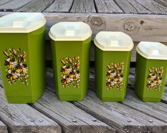 Vintage Eight (8) Piece Plastic Nesting Canister Set - Avocado With Harvest Gold And Brown Floral Design / Cream Lids
