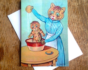 Baby's Bath. Gorgeous New Baby Card featuring Illustration by Louis Wain.