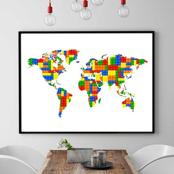 Lego world map print lego inspired art world map decor lego gumiabroncs Images