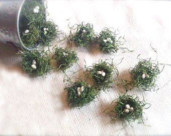 Craft supply - Mini Nests- Set of 20- Woodland Green