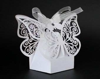 50 Pack Laser Cut  Floral Butterfly Wedding Favor Box Birthday Shower Party Candy Boxes Lolly Bag