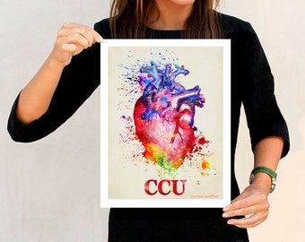 "Watercolor Heart - CCU, 11"" x 14"", Critical Care Unit Art, ICU art, Anatomy Medical print, Registered Nurse Gift, Nurse Graduation gift,"
