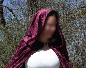 Eggplant has long cloak hood style medieval cosplay