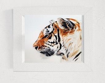 Tiger print Digital illustration art painting Wall art printable Animal decor Digital print Art pictures Wall print artwork Watercolor art