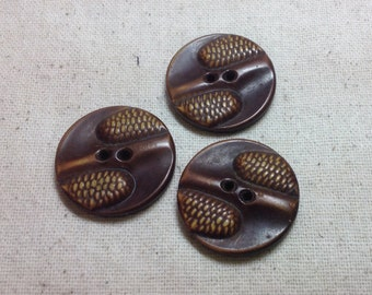 """Three 1 1/16"""" Vintage Celluloid Two Hole Button with Corn Relief"""